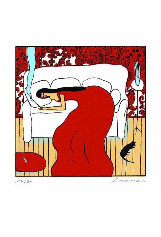 Femme allongée sur canapé - Robe rouge